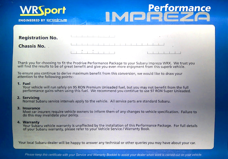 PPP Prodrive Performance Pack Certificate