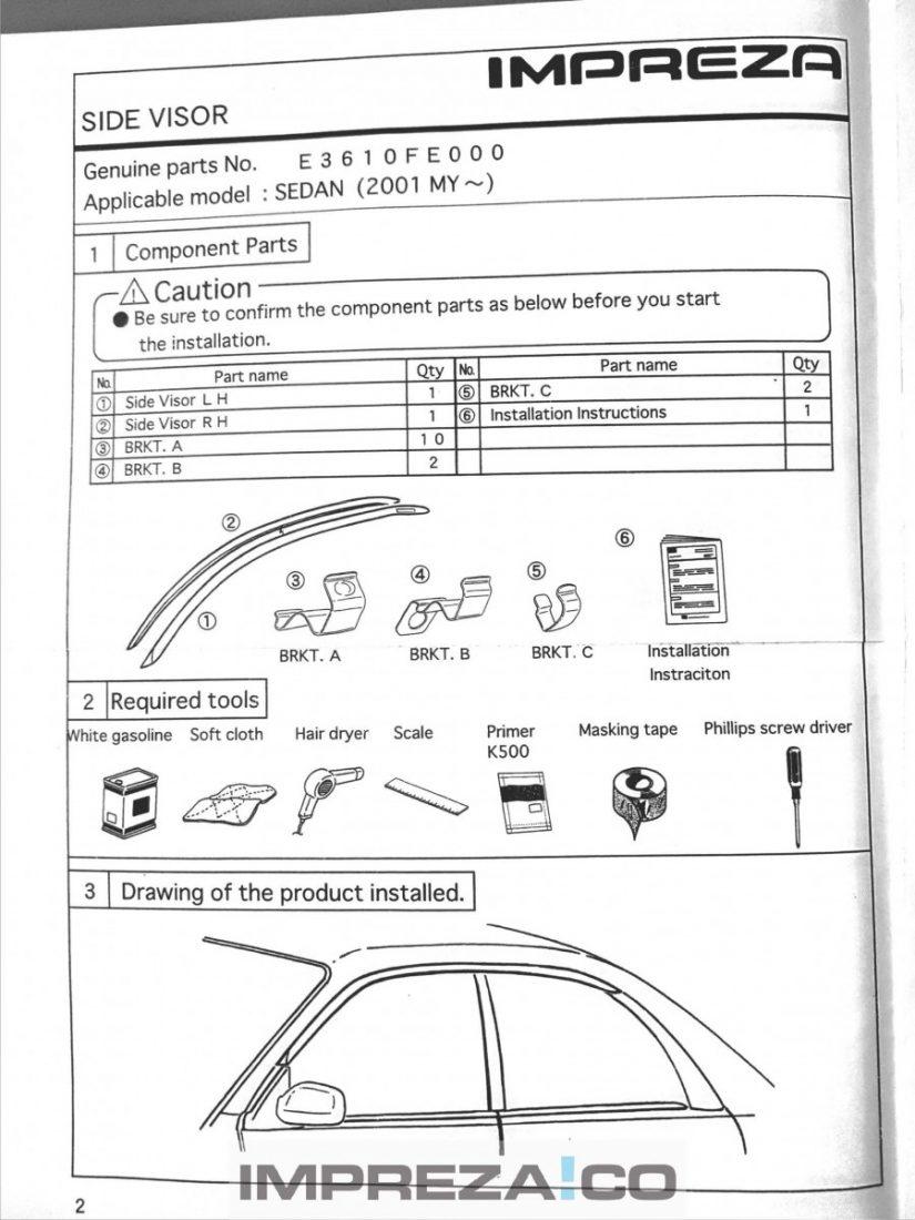 Subaru Impreza Wind Deflector Fitting Instructions